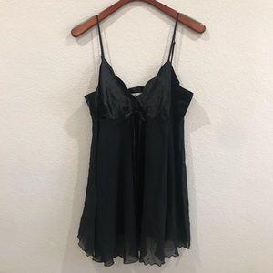 Vintage Victoria's Secret black chiffon chemise XL
